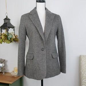 Lands' End Herringbone Tweed Blazer Wool Jacket 4